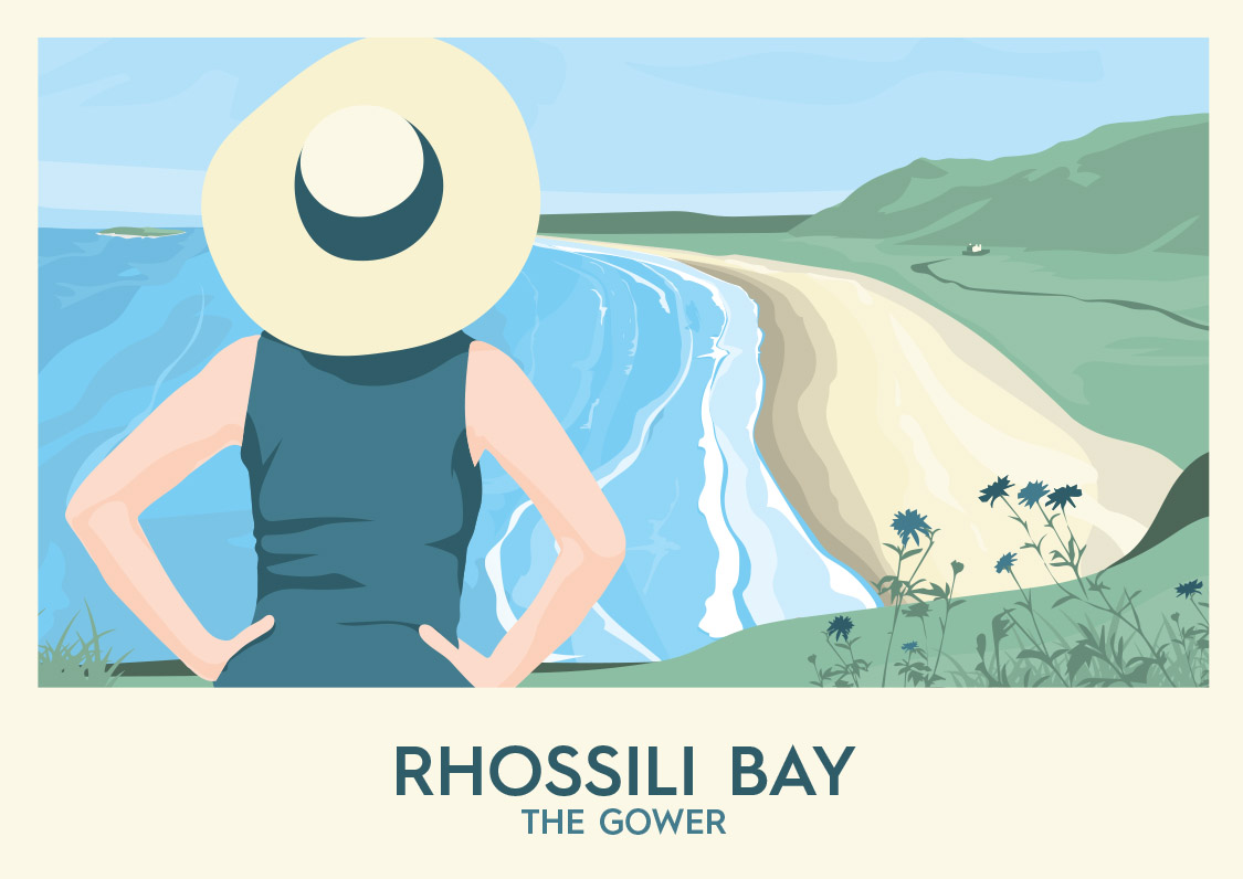 Rhossili Bay - The Gower - Wales Tourism Poster